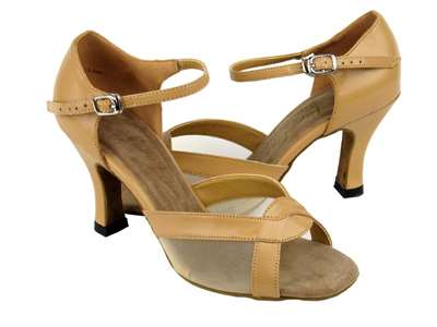 Style 1675 Beige Brown Leather & Flesh Mesh - Women's Dance Shoes | Blue Moon Ballroom Dance Supply