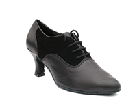 Style 1688 Black Nubuck & Black Leather - Ladies Dance Shoes | Blue Moon Ballroom Dance Supply