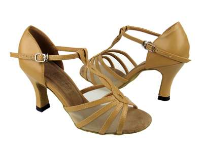 Style 1692 Beige Brown Leather & Flesh Mesh - Women's Dance Shoes | Blue Moon Ballroom Dance Supply