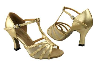 Style 1692 Light Gold & Flesh Mesh - Women's Dance Shoes | Blue Moon Ballroom Dance Supply