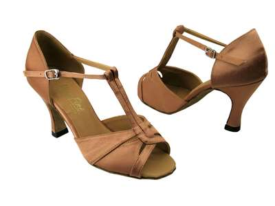 Style 1703 Brown Satin - Women's Dance Shoes | Blue Moon Ballroom Dance Supply