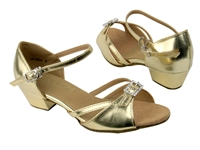 Style 1720G Girls Gold Leather - Girls Dance Shoes | Blue Moon Ballroom Dance Supply