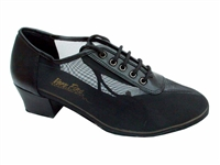 Style 2002 Black Leather Black Mesh - Women's Dance Shoes | Blue Moon Ballroom Dance Supply