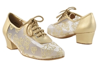 Style 2002 Light Gold Leather # 79 Mesh - Women's Dance Shoes | Blue Moon Ballroom Dance Supply