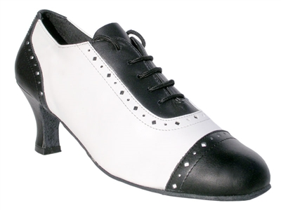 Style 2007 Black Leather & White Leather - Quality Dancewear | Blue Moon Ballroom Dance Supply