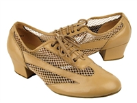 Style 2009 Beige Brown Leather - Women's Dance Shoes | Blue Moon Ballroom Dance Supply