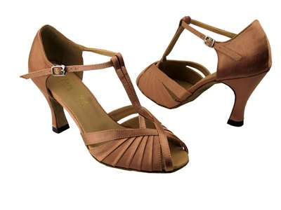 Style 2707 Brown Satin - Women's Dance Shoes | Blue Moon Ballroom Dance Supply