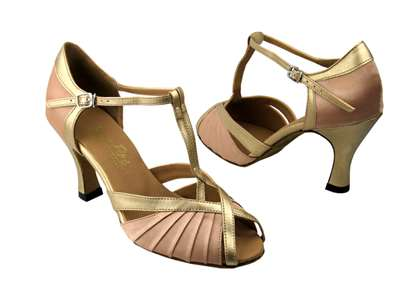 Style 2707 Light Brown Satin & Light Gold - Women's Dance Shoes | Blue Moon Ballroom Dance Supply