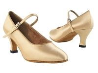 Style 3008 Light Brown Satin - Ladies Dance Shoes | Blue Moon Ballroom Dance Supply