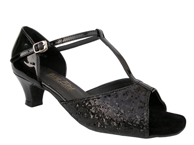 Style 5004 Black Sparkle Cuban Heel - Women's Dance Shoes | Blue Moon Ballroom Dance Supply