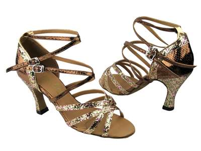 Style 5008Mirage Rainbow Sparkle & Snake Copper - Women's Dance Shoes | Blue Moon Ballroom Dance Supply