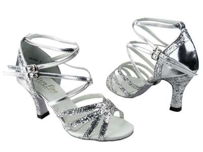 Style 5008Mirage Silver Sparkle & Silver Leather - Women's Dance Shoes | Blue Moon Ballroom Dance Supply