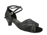 Style 5017 Black Leather & Black Mesh Cuban Heel