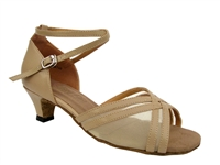 Style 5017 Tan Leather & Flesh Mesh Cuban Heel