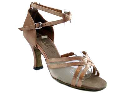 Style 5017 Brown Satin & Flesh Mesh - Women's Dance Shoes | Blue Moon Ballroom Dance Supply