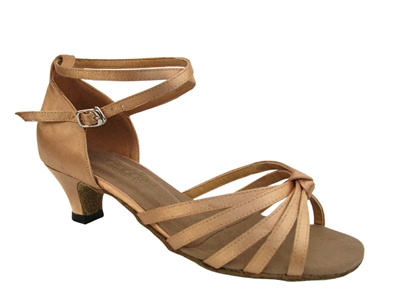 Style 6005 Brown Satin & Cuban Heel - Women's Dance Shoes | Blue Moon Ballroom Dance Supply