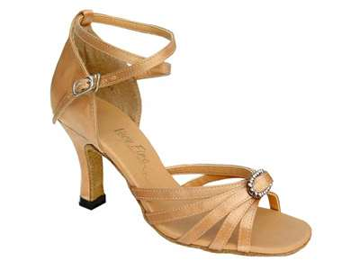 Style 6005 Brown Satin & Stone - Women's Dance Shoes | Blue Moon Ballroom Dance Supply