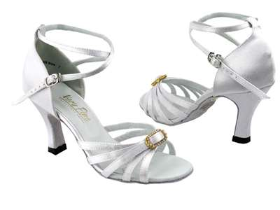 Style 6005 White Satin & Stone - Women's Dance Shoes | Blue Moon Ballroom Dance Supply