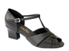 Style 6006 Black Leather & Thick Cuban Heel - Women's Dance Shoes | Blue Moon Ballroom Dance Supply