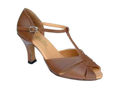 Style 6006 Coffee Brown Leather - Women's Dance Shoes | Blue Moon Ballroom Dance Supply