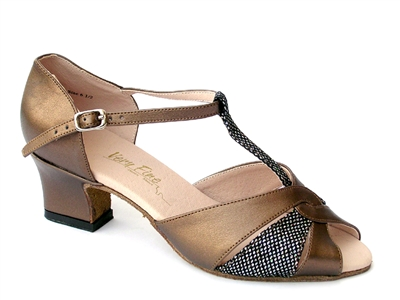 Style 6006 Copper Leather & Black Sparklenet & Thick Cuban Heel | Blue Moon Ballroom Dance Supply
