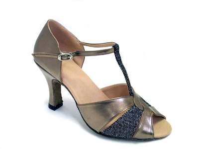 Style 6006 Copper Leather & Black Sparklenet - Women's Dance Shoes | Blue Moon Ballroom Dance Supply