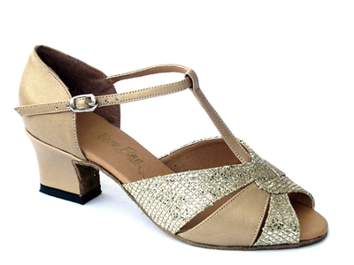Style 6006 Gold Leather & Gold Spklenet & Thick Cuban Heel | Blue Moon Ballroom Dance Supply