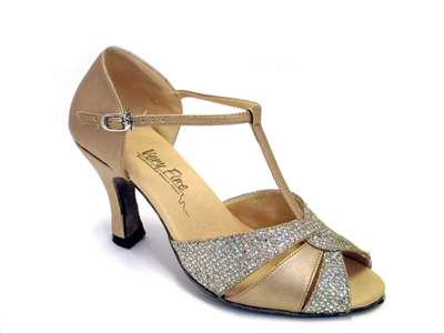 Style 6006 Light Gold Leather & Gold Sparklenet - Women's Dance Shoes | Blue Moon Ballroom Dance Supply