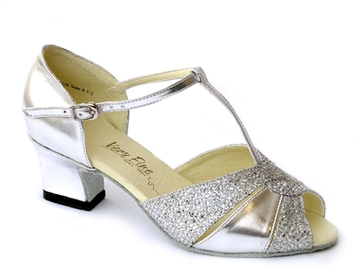 Style 6006 Silver Leather Silver Sparklenet Thick Cuban Heel | Blue Moon Ballroom Dance Supply