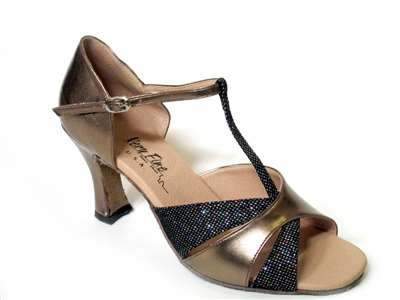 Style 6016 Copper Leather & Blk Sparklenet - Women's Dance Shoes | Blue Moon Ballroom Dance Supply