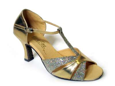Style 6016 Gold Leather & Gold Sparklenet - Women's Dance Shoes | Blue Moon Ballroom Dance Supply