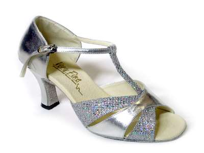 Style 6016 Silver Leather & Silver Sparklenet - Women's Dance Shoes | Blue Moon Ballroom Dance Supply