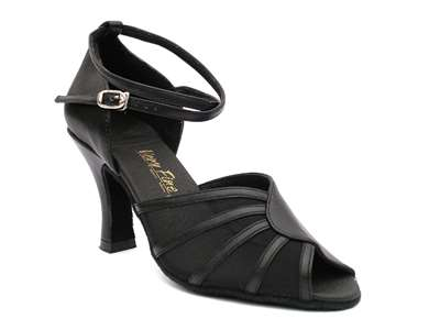 Style 6018 Black Leather & Black Mesh - Women's Dance Shoes | Blue Moon Ballroom Dance Supply