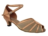 Style 6018 Brown Satin  Flesh Mesh Cuban Heel