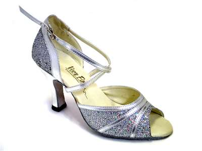 Style 6023 Silver Sparklenet & Silver Trim - Women's Dance Shoes | Blue Moon Ballroom Dance Supply