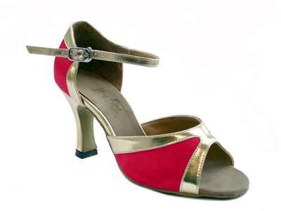 Style 6024 Red Satin & Gold Trim - Women's Dance Shoes | Blue Moon Ballroom Dance Supply