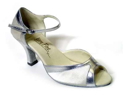 Style 6024 White Satin & Silver Trim - Women's Dance Shoes | Blue Moon Ballroom Dance Supply