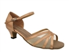 Style 6027 Brown Satin  Flesh Mesh Cuban Heel