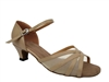Style 6027 Tan Leather Flesh Mesh Cuban Heel - Women's Dance Shoes | Blue Moon Ballroom Dance Supply