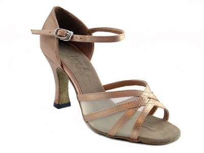 Style 6027 Brown Satin & Flesh Mesh - Women's Dance Shoes | Blue Moon Ballroom Dance Supply