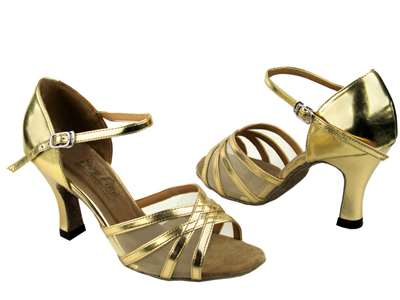 Style 6027 Gold Leather & Flesh Mesh - Women's Dance Shoes | Blue Moon Ballroom Dance Supply