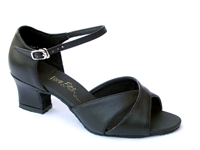 Style 6029 Black Leather Thick Cuban Heel