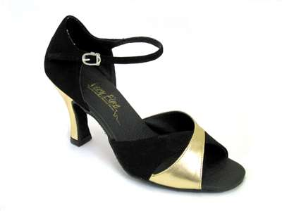 Style 6029 Black Nubuck & Gold Leather - Women's Dance Shoes | Blue Moon Ballroom Dance Supply