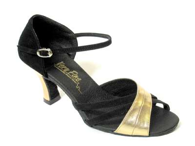 Style 6030 Black Nubuck & Gold Leather - Women's Dance Shoes | Blue Moon Ballroom Dance Supply