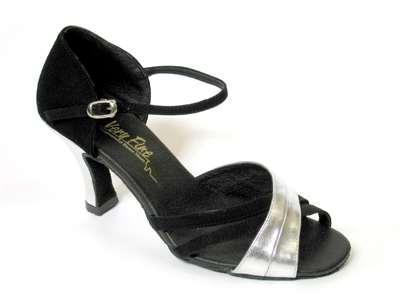 Style 6030 Black Nubuck & Silver Leather - Women's Dance Shoes | Blue Moon Ballroom Dance Supply