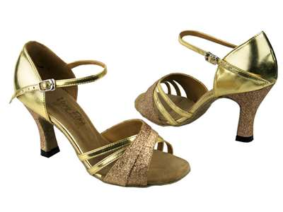 Style 6030 Gold Stardust & Gold Leather - Women's Dance Shoes | Blue Moon Ballroom Dance Supply