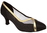 Style 6815 Black Satin & #109 Mesh - Ladies Dance Shoes | Blue Moon Ballroom Dance Supply