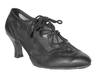 Style 6823 Black Leather & Black Mesh - Ladies Dance Shoes | Blue Moon Ballroom Dance Supply