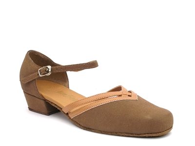 Style 8881 Brown Nubuck & Beige Brown Trim - Women's Dance Shoes | Blue Moon Ballroom Dance Supply