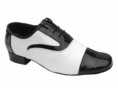 Style 916102 Black Patent & White Leather - Men's Dance Shoes | Blue Moon Ballroom Dance Supply